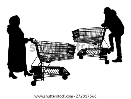 Shoppers with shopping carts silhouettes - stock vector