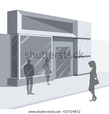 Shopping. Abstract illustration of Boutique Facade and People Shopping.Side view. Retail Series. Vector EPS10.
