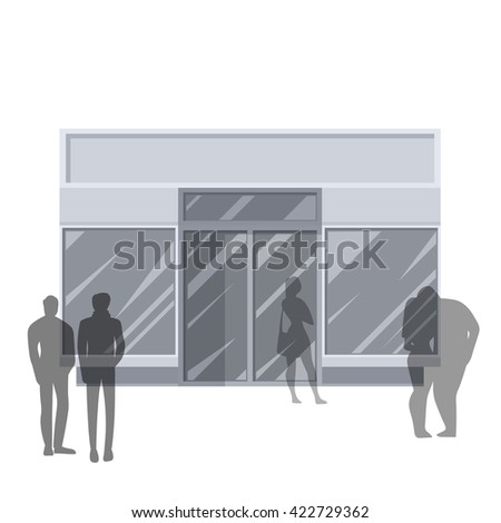 Shopping. Abstract illustration of Urban Shop Facade and People Shopping. Front view. Retail Series. Vector EPS10.