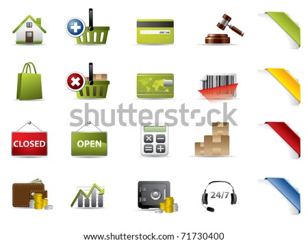 Shopping and auctions icons - stock vector