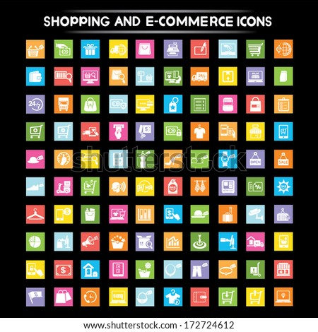 shopping and e commerce icons set, flat icons set - stock vector