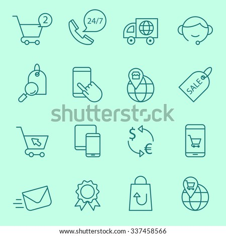 Shopping  and e-commerce icons, thin line style - stock vector
