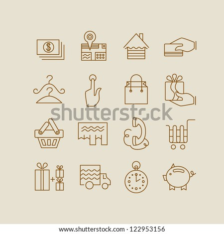 shopping and electronic commerce web icon set illustratio vector eps 10