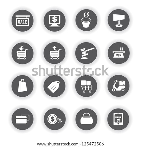 shopping and marketing icon set - stock vector