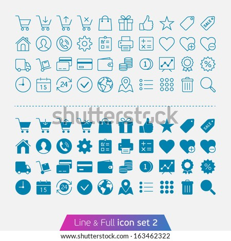 Shopping and money set 2. Trendy thin icons for web and mobile. Line and full versions. - stock vector