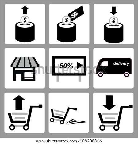 shopping and money simple icon set - stock vector
