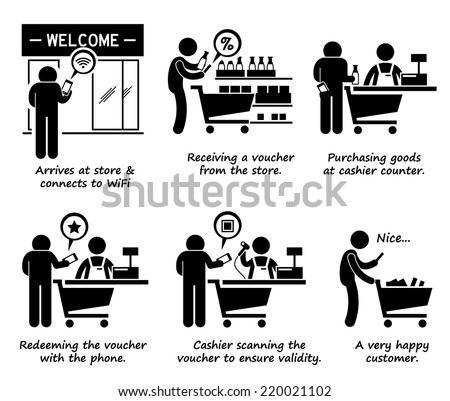 Shopping at Store and Redeeming Online Voucher Process Step by Step Stick Figure Pictogram Icons - stock vector