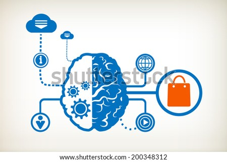Shopping bag and abstract human brain, the concept of the information movement - stock vector