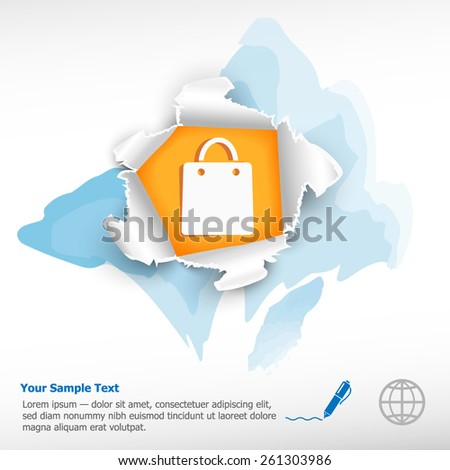 Shopping bag and breakthrough paper hole with ragged edges on watercolor background - stock vector