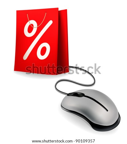 Shopping bag and computer mouse. Concept of e-commerce. Vector illustration. - stock vector