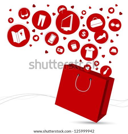 Shopping bag and fashion icon design - stock vector