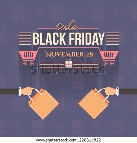Shopping Bag Black Friday Flat Style Sale Poster, Flyer, Advertising Template - stock vector