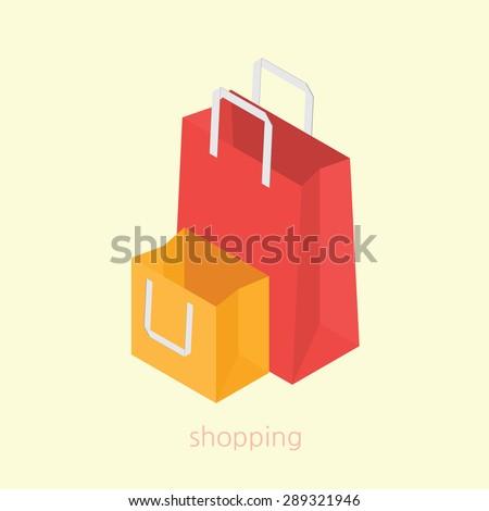 Shopping bag concept design 3d isometric vector illustration - stock vector
