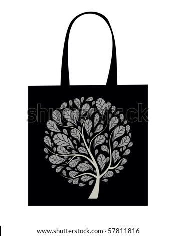 Shopping bag design, art tree - stock vector