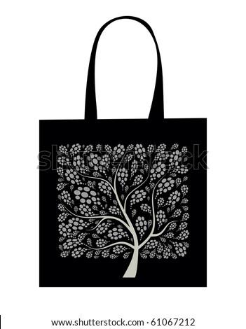 Shopping bag design, art tree - stock vector