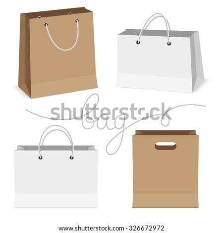 shopping bag isolated on white background, vector illustration - stock vector