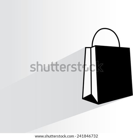 shopping bag on white background, flat and shadow theme