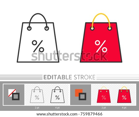 Shopping Bag Percent Clearance Sale Linear Icon Holiday Special Offer Banner Line Without With