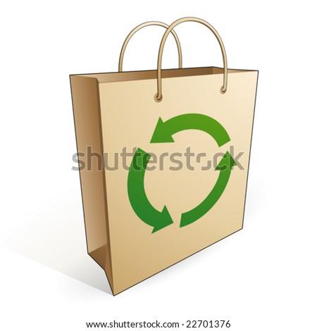 Shopping bag recycling - stock vector