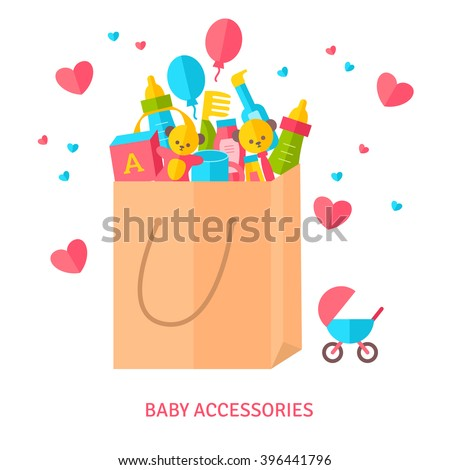 Shopping bag with baby accessories. Vector Illustration. Goods for new born child. Flat style. Toys, cosmetics, gifts. - stock vector