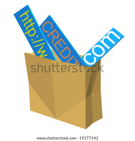 Shopping bag with internet address and credit signs - stock vector