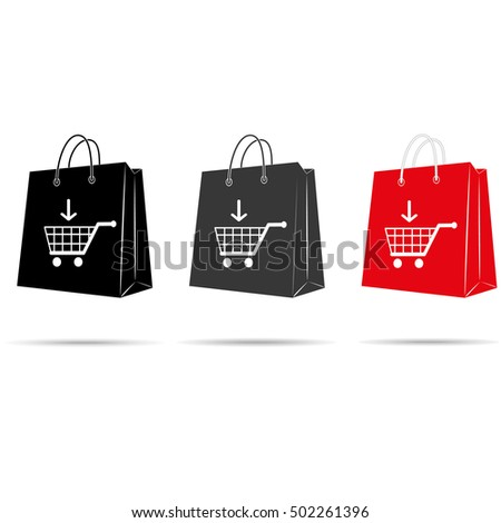 Shopping bag with recycle sign. Vector illustration.