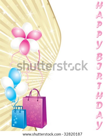 Shopping bags and balloons, birthday card - stock vector