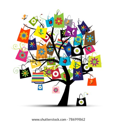 Shopping bags on tree for your design - stock vector