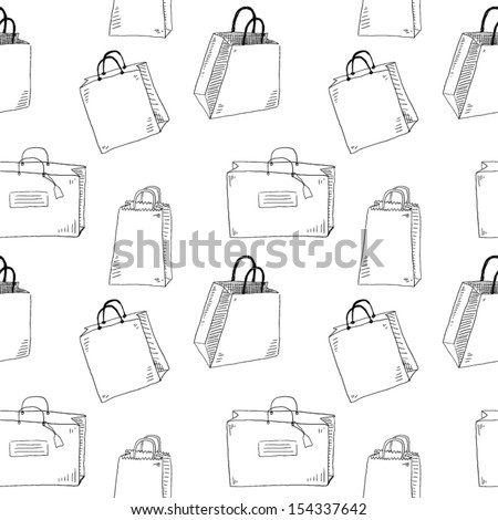 Shopping bags seamless pattern - stock vector