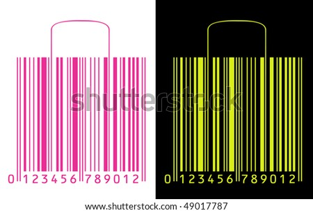 shopping bags stylized as barcode - stock vector