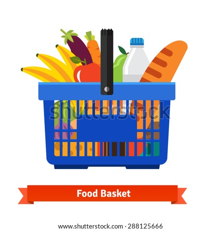 Shopping basket full of healthy organic fresh and natural food. Flat vector icon. - stock vector