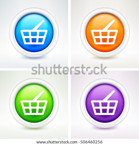 Shopping Basket on Colorful Round Buttons