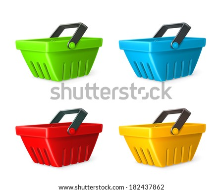 Shopping basket vector icon set - stock vector