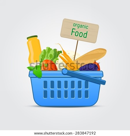 Shopping Basket with Food - stock vector