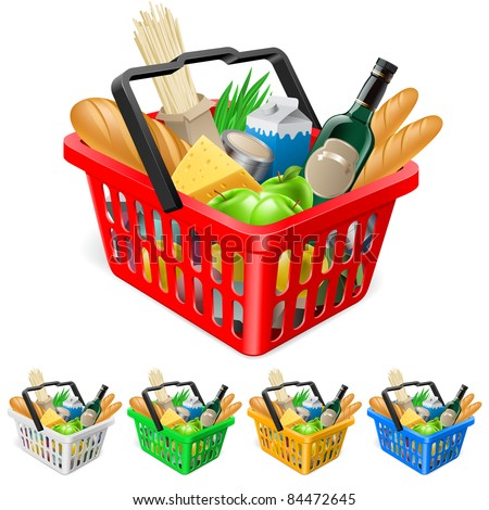Shopping basket with foods. Realistic illustration for design - stock vector