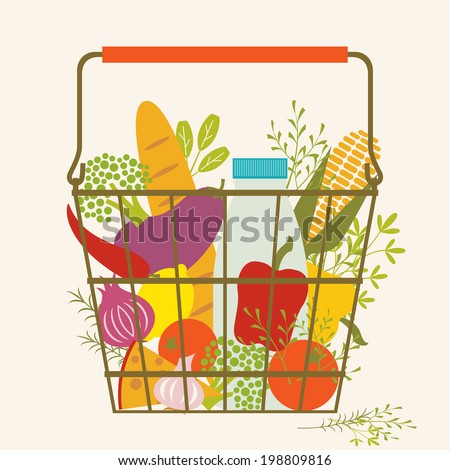 Shopping basket with healthy food. - stock vector