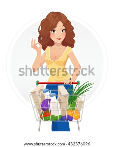 Shopping beautiful girl with cart vector illustration isolated white background trolley woman in shop lady market supermarket foodstuff