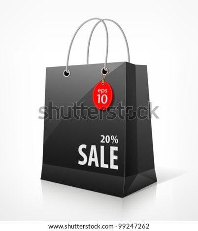 Shopping black bag for sale. vector illustration - stock vector