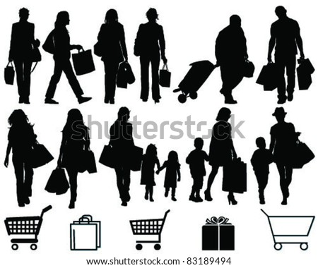 Shopping, black silhouettes and signs on a white background-vector - stock vector