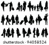 Shopping, black silhouettes on a white background-vector - stock vector