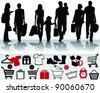 Shopping, black silhouettes with shadows and signs-vector - stock vector