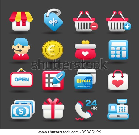 shopping,business,travel icon set | Dark series - stock vector