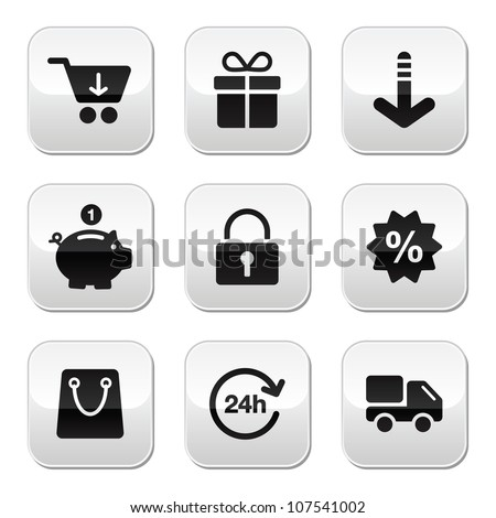 Shopping buttons for website / on-line store - stock vector