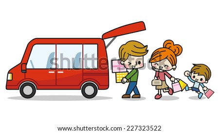 Shopping by car - stock vector
