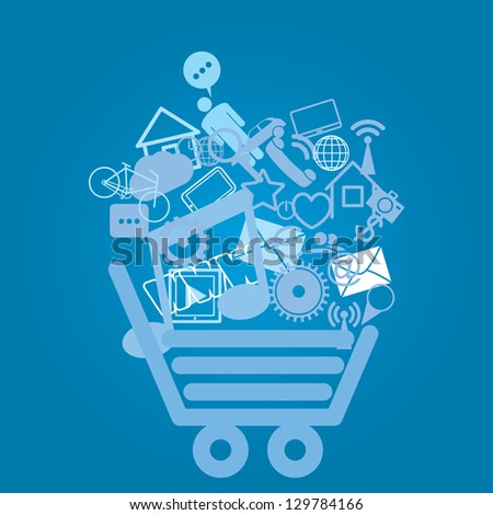 shopping cart. abstract media background. eps8 - stock vector