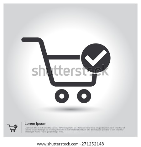 Shopping cart check mark icon pictogram stock vector 271252148 shopping cart and check mark icon pictogram icon on gray background vector illustration for voltagebd Choice Image