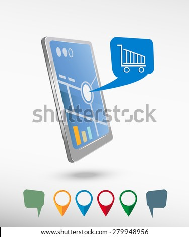 Shopping cart and perspective smartphone vector realistic. Set of bright map pointers for printing, website, presentation element and application mockup.