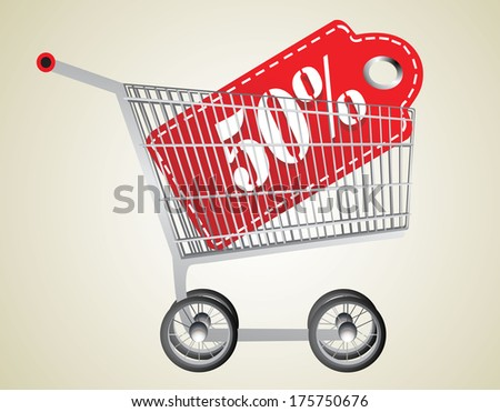 Shopping cart and red fifty percentage discount - stock vector
