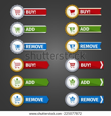 Shopping cart buttons e-commerce web design elements glossy sticker set with buy add remove ribbons isolated vector illustration