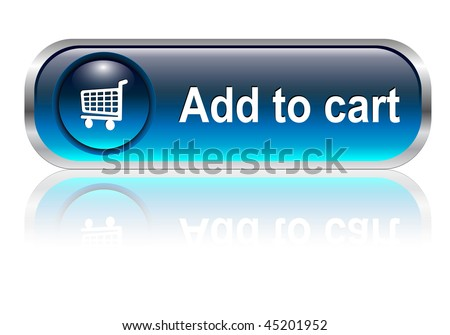 Shopping cart, buy icon button, blue glossy with shadow, vector - stock vector